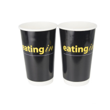 DOUBLE PE 12OZ 16OZ CUSTOM PRINTED PAPER CUP COLD DRINK WITH STRAWS