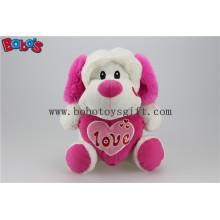 """10 """"Großhandel niedlich gefüllte Hund Tiere Spielzeug mit rosa Herz Kissen Bos1165"""