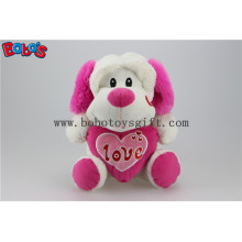"10"" Wholesale Cute Stuffed Dog Animals Toy with Pink Heart Pillow Bos1165"