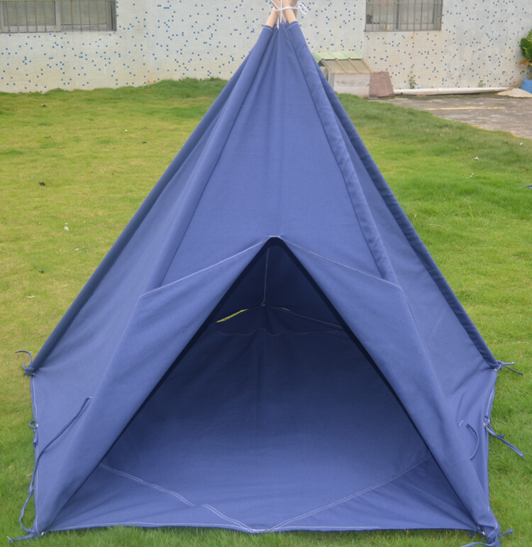 Stripe Canvas Teepee kids tent blue