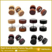 Madeira natural, marrom, preto orgânico madeira corpo jóias falsas Plug