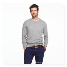 Suéter de cashmere masculino de manga comprida gola redonda Suéter de tricô puro Cashmere