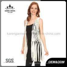 Damenmode Fringe Metallic Crochet Vest Coat