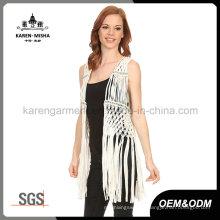 Lady′s Fashion Fringe Metallic Crochet Vest Coat