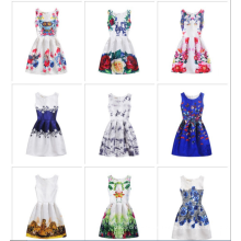 Heißer Verkauf Baby Mädchen Sommer Gedruckt ärmellosen Kleid Designs Kind Kleider Blumenmädchen Kind Kleid