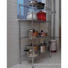 Venda quente DIY Chrome Metal Wire cozinha armazenamento Pan Organizer Rack prateleira