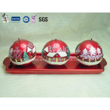 Three Spherical Candle for Christmas