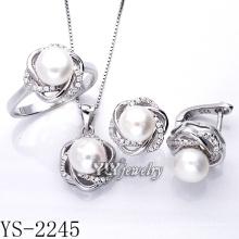 Jóia de prata conjunto de pérolas prata 925 para festa (ys-2245)