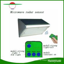 1000lm 56 LED Mikrowellen-Radarsensor Fernbedienung Wandmontierte Wireless Solar Garten Licht