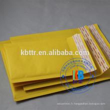 Enveloppe à bulles d'air kraft à coussin d'air auto-scellée personnalisée personnalisée en jaune blanc