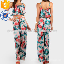 Leaf Print Lace Up Crop And Matching Pant Set Manufacture Wholesale Fashion Women Apparel (TA4111SS)