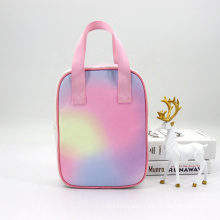 Multicolor Rainbow Kids Lunch Box Bag For School PEVA Lining Thermal Lunch Bag Outdoor Picnic Cooler Bag