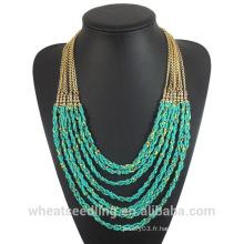 Collier de perles turquoises africaines 2016 avec chaîne en alliage pour femmes