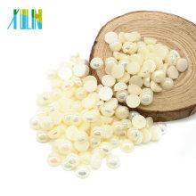 Venda quente Metade Rodada Flat Back Plastic Pearls Beads e Pedrinhas para Artesanato, A5-Bege AB