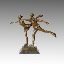 Sports Statue Pair Skating Bronze Sculpture, Milo TPE-388