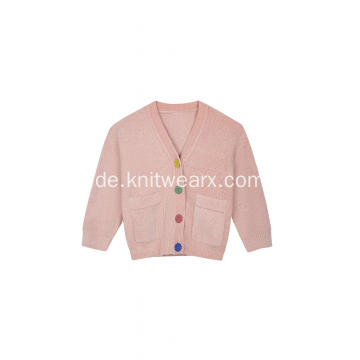 Strickte Button-Down-Tasche für Damen Warme Melange-Strickjacke