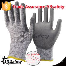 SRSAFETY 13 gauge knitted liner coated PU on plam anti-cut working glove, cut level 5