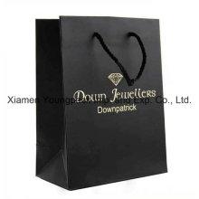 Custom Printed Luxury Matt Black Paper Gift Carrier Bag