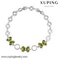 74341 profissional simples arco braceletes ródio colorido CZ pulseira