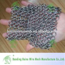 Acero inoxidable cadena de correo de hierro fundido pan lavador / asador de la parrilla