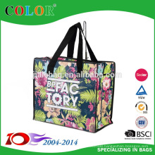 2015 flower non woven big bag with zipper