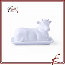Platos de mantequilla en forma de vaca de cerámica