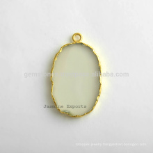 Handmade 925 Sterling Silver Gold Plated White Chalcedony Slice Gemstone Bezel Connector and Charm Supplies