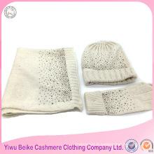 En gros populaire style laine matériel lady hiver bonnet écharpe ensemble pour les filles
