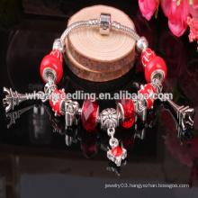 latest design Eiffel Tower heart charm glass bead bracelet