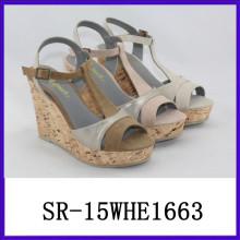 La sandalia vendedora caliente del wadge calza las sandalias 2015 de la señora de las sandalias del verano de las señoras