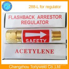 Flashback arrestor for regulator valve 288L 288R