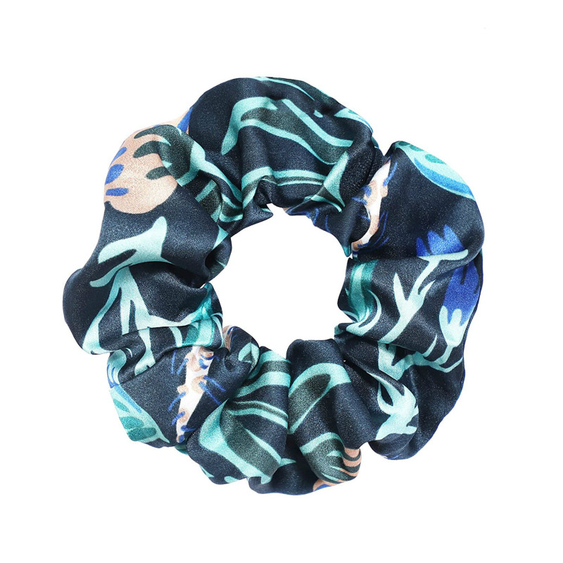 Pure Silk Hair Scrunchie Green Floral