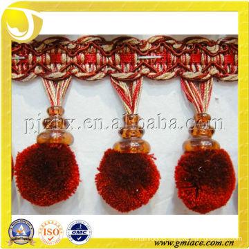 Small fluffy pom pom fringe for curtain decorative, pompom trims