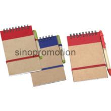 Papel mini notebook espiral reciclado com caneta esferográfica