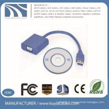 Échantillon gratuit VGA bleu à l'adaptateur USB3.0 Adaptateur usb3.0 à vga