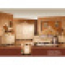 Ensemble de meubles de chambre à coucher avec lit antique et garde-robe (W809)