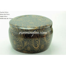 Black Vivid Flower Painting Round Tin Canister Pour Matcha