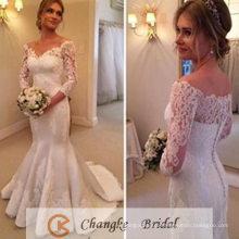 2017 Latest Wedding Dress V Neck Lace Applique Beads Mermaid Ruffle Bridal Gown
