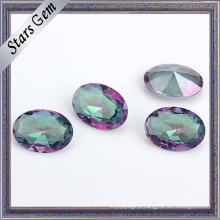 Special Rainbow Color Oval Shape Crystal Glass Gemstone