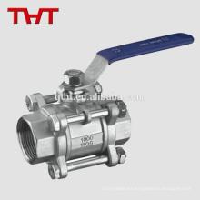 válvula de bola de tres vías de aluminio del extremo del tornillo cf8m de pequeño calibre
