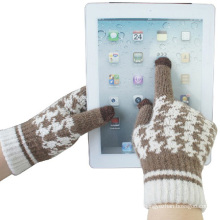 Tela de toque de lã moda senhora malha inverno luvas mágicas (yky5454)