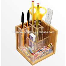 Retail Store Or Office Stationery Display Counter Top Acrylic Wooden Pencil Or Pen Ball Display Holder