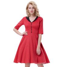 Belle Poque Retro Vintage Half Sleeve Lapel Collar Red Dress Black Polka Dots Cotton Party Swing Dress BP000258-1