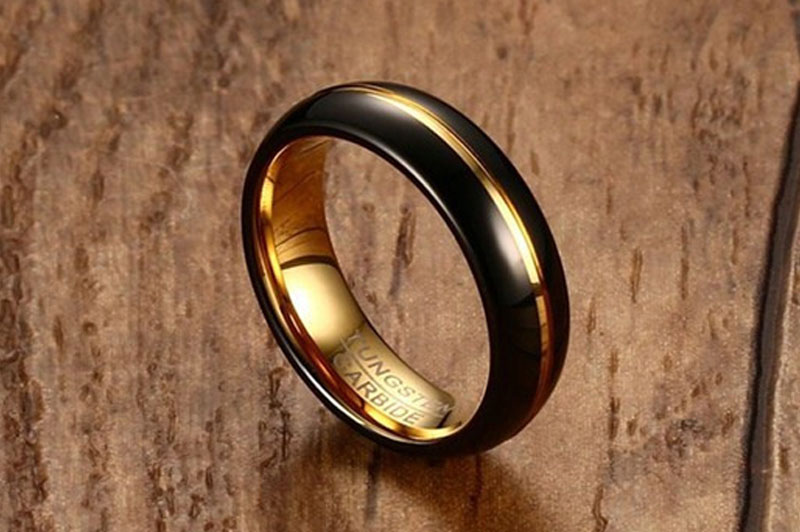 black and gold tungsten wedding bands
