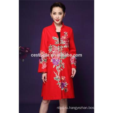 Cestbella высокое качество осень и весна Лиюань Стиль элегантный длинным рукавом цветок печатных пальто женщин