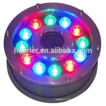 12w DC12V 24V RGB ip68 led piscine lumière piscine led lumières halogène métallique lampe sous-marine