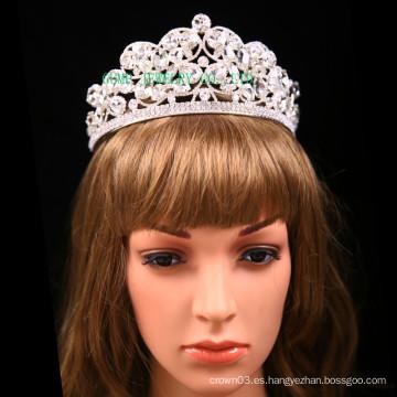 Corona de cristal transparente de la boda de la tiara de la piedra clara grande