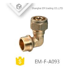 EM-F-A093 90 graus cotovelo de latão masculino e encaixe de tubulação conector de compressão