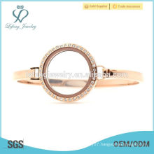Cheap 30mm 7''-8'' Rose Gold stainless steel floating locket watch, rose gold cuff bracelet