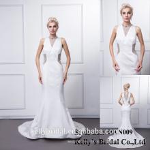 HAN0009 Side Slit High Neck Abendkleid Langarm Herzogin Satin Perlen Meerjungfrau Abendkleid Bridalgowns Mit Long Train